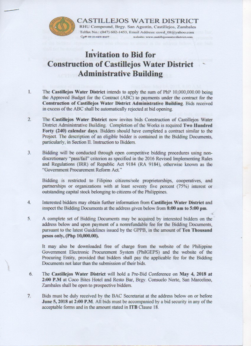 Castillejos Water District Official Web Page